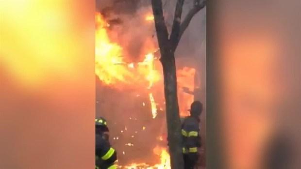 [NY] WATCH: Firefighters Battle Roaring Flames in Harlem