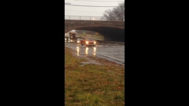 Raw Video: Flooding on Northern State Parkway