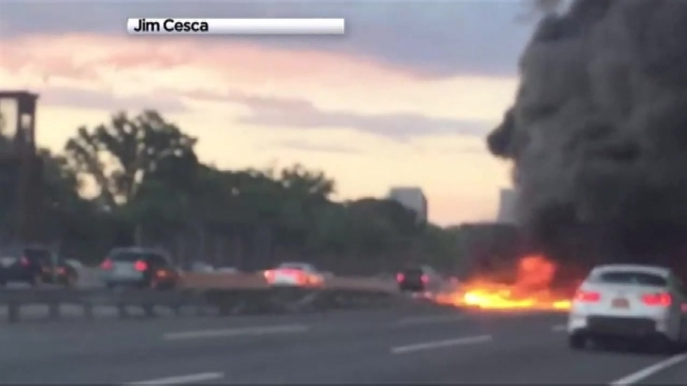 NJ Turnpike Reopens After Fiery Truck Crash - NBC New York