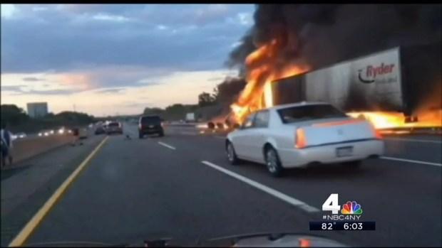 [NY] Australian Tourists Help Driver Set Ablaze in Fiery NJ Turnpike Crash