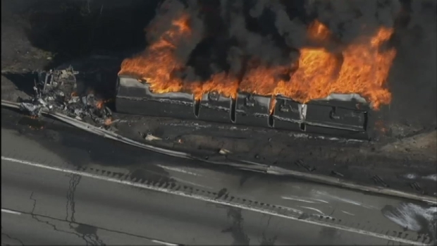 Chopper Video: Flames Engulf Tanker Truck on New Jersey Turnpike
