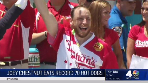 [NY] Joey Chestnut Eats Record-Breaking 70 Hot Dogs