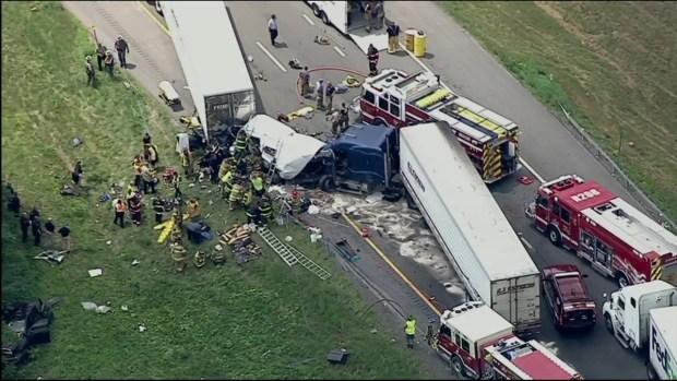 Tractor Trailer Erupts In Flames On Nj Highway Lanes