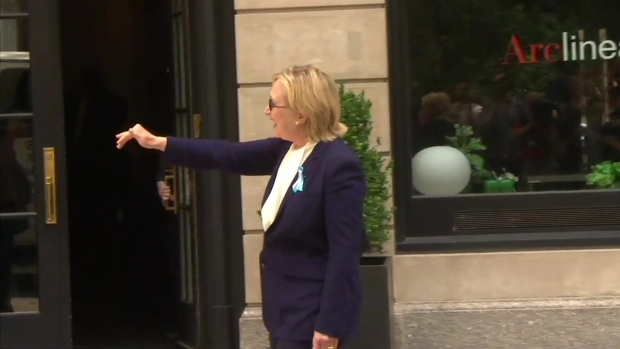 Clinton Walks From Daughter's New York Apartment