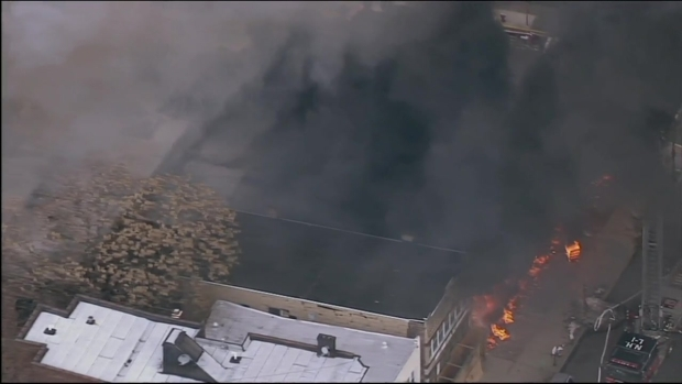 Firefighters Battle Raging Fire At North Bergen Furniture Store