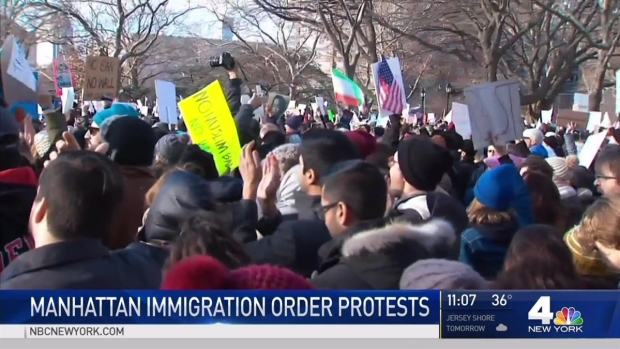 Protesters Rally in Support of Immigrants in NYC
