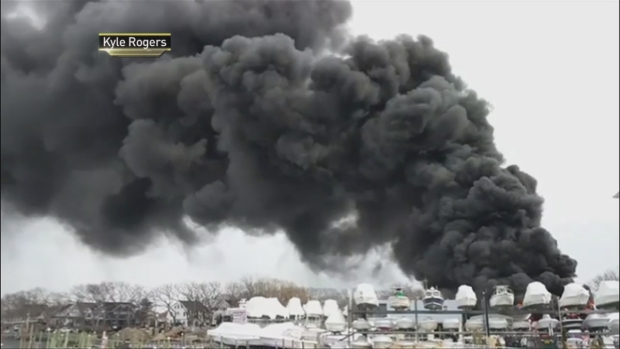 [NY] Thick Black Smoke Billows From Flaming NJ Marina