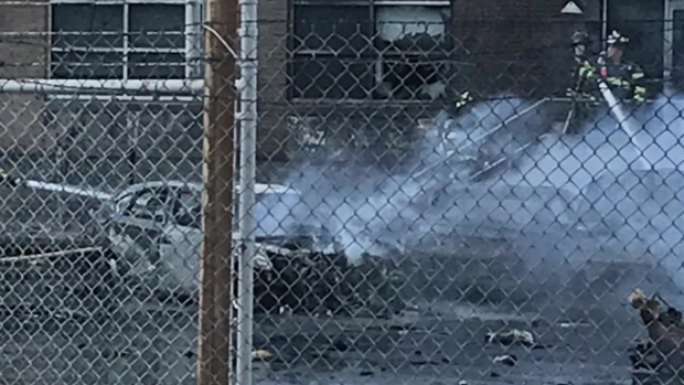 Raw Footage: Cars Burned Out After Plane Crashes in NJ Neighborhood