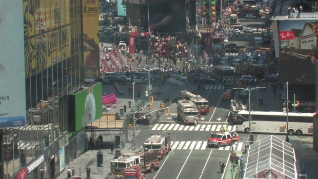Major Emergency Response in Times Square After Car Apparently Jumps Curb