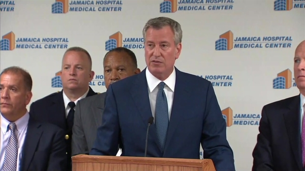 Mayor, NYPD Commissioner Give Update After Officer Shot