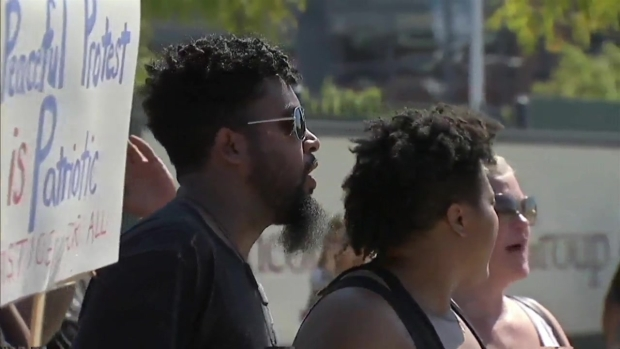 [NY] Protesters Rally Outside Giants-Eagles Game