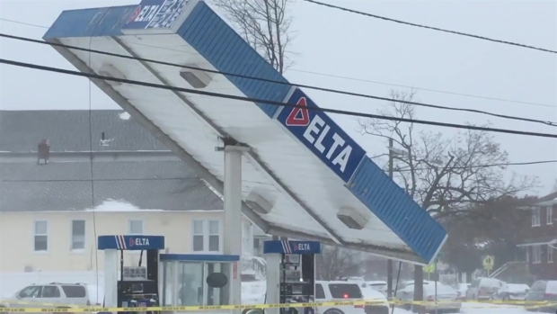 NJ Gas Station Roof Collapses Amid Powerful Storm