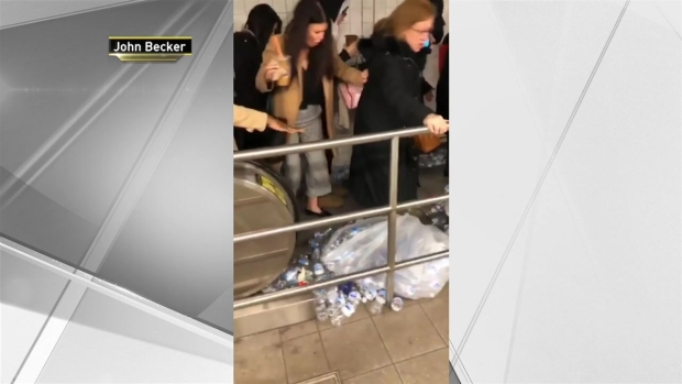Trash on Subway Escalator Nearly Causes Human Pile-Up