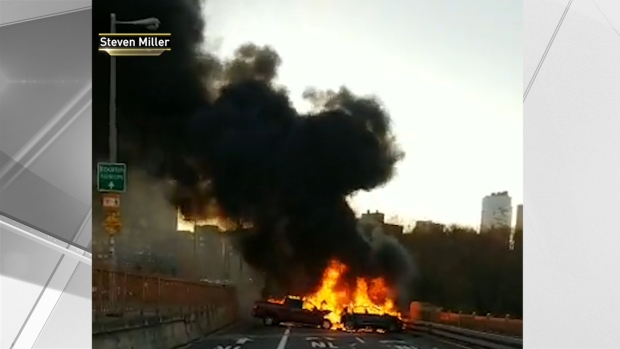 Dramatic Video Shows Cars Ablaze on Brooklyn Bridge