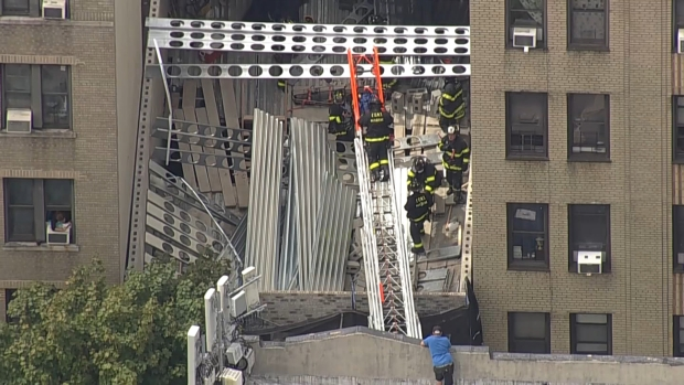 [NY] Chopper 4 Shows Major Response to NYC Building Collapse