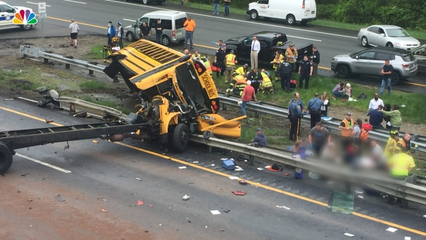 [NATL] School Bus, Dump Truck Collide on NJ Highway