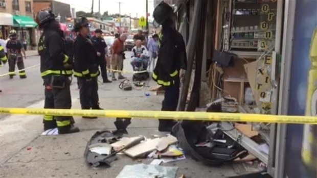 [NY ONLY SPEC] SUV Jumps Curb, Smashes Into Queens Storefront