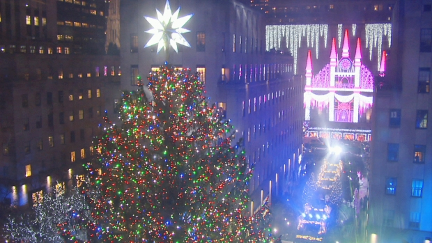 [NY] Rockefeller Center Christmas Tree Lit Up With 50,000 Lights