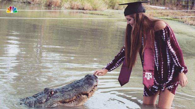 [NATL] College Grad's Unusual Gator Photos Go Viral