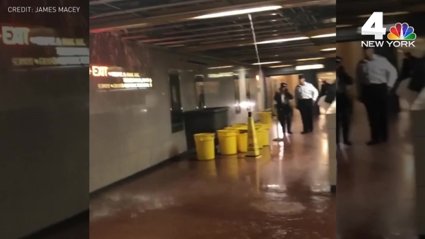 Water Pours Down Inside Grand Central Terminal