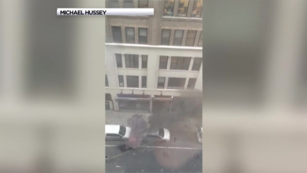 [NY] WATCH: Manhole Fire Rages in Midtown