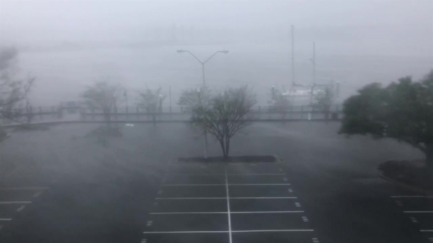This Is a Wilmington Parking Lot as Hurricane Florence Hit