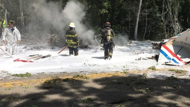 Firefighters Battle Blaze in Fatal Long Island Plane Crash