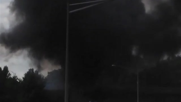 [NY] Black Smoke Billows From Tractor-Trailer in Fiery Turnpike Accident