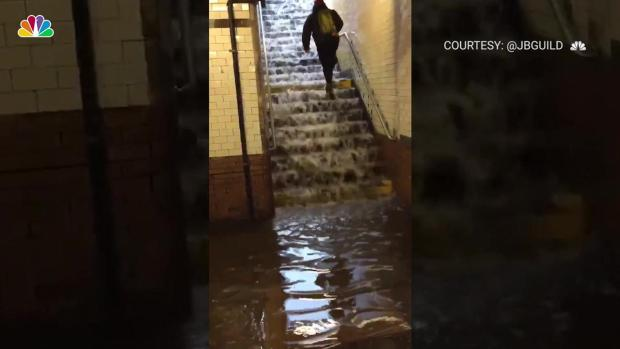 Man Battles Waterfall to Get Out of NYC Subway Station