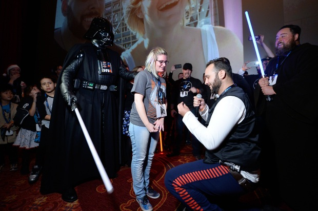 [NATL-LA GALLERY] Darth Vader, Costumed Fans Celebrate Marriage Proposal at 'Rogue One' Hollywood Opening