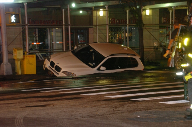 BMW SUV Is Swallowed by Amsterdam Avenue Sinkhole