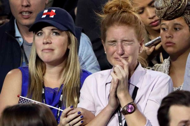 [NATL-NY] Hillary Clinton Supporters in Tears as They Watch Election Night Returns at Javits Center in NYC