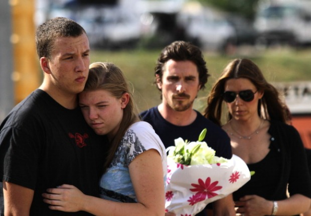 Christian Bale Visits Aurora Shooting Memorial