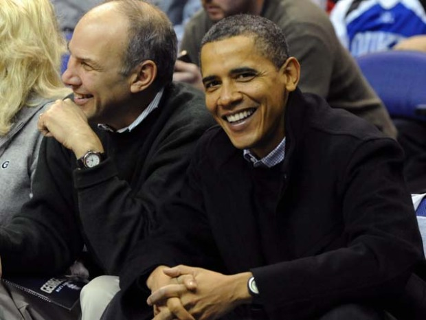 Obama Hams it up at G'town-Duke Game