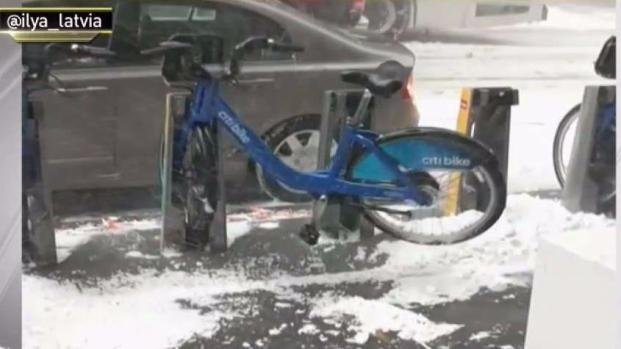 Citi Bike Appears to Levitate in Gusty NYC Snow