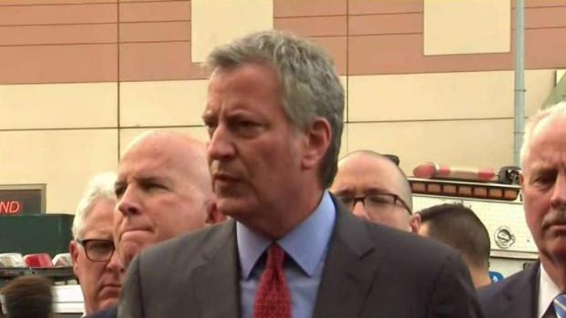 De Blasio Speaks At Bronx Lebanon Hospital