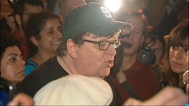 [NY] Filmmaker Michael Moore Visits Wall Street Protest