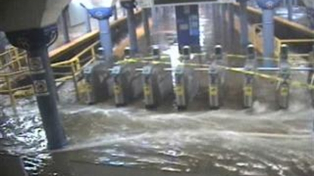[NY] Sandy Floods Hoboken PATH Station Platform