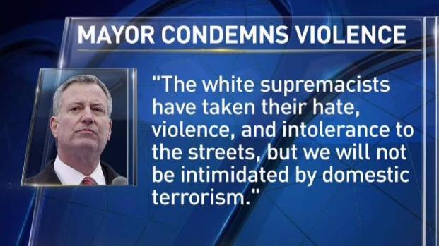 NYC Mayor Condemns Va. Violence