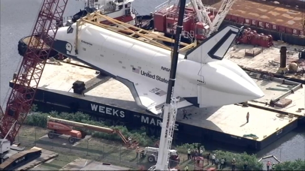 [NY] Space Shuttle Enterprise Placed on Barge