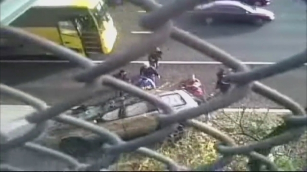 [NY] Viewer Video: SUV Flies Over Wall, onto Highway After NJ Truck Crash
