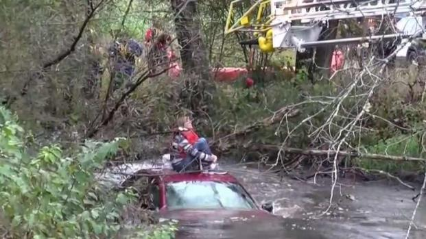 Rescuers Save Woman Stranded in NY Creek After Crash