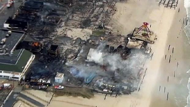 [NY] Aerial Video Jersey Shore Boardwalk Fire