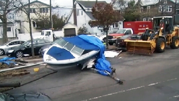 Boats Swept onto Cross Bay Boulevard in Queens