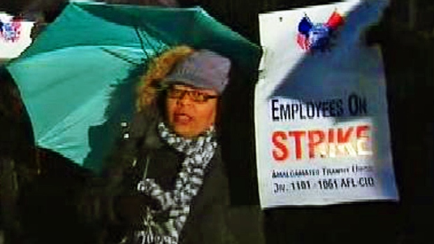 "[NY] Striking Bus Driver in Picket Line: ""We Need Job Protection"""