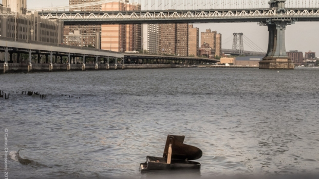 Mystery Piano in East River Under Brooklyn Bridge