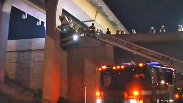 [MI] RAW VIDEO: Firefighters Pull Driver From Dangling Truck