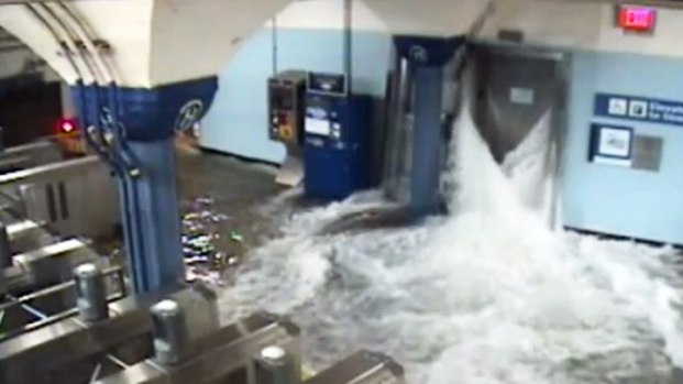 [NY] Sandy Floods the Hoboken PATH Station Through an Elevator Shaft
