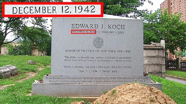[NY] Ed Koch Tombstone Has Wrong Birth Date
