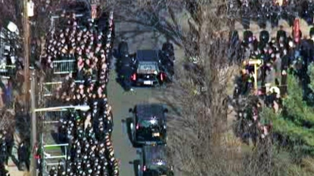 [NY] Aerial View: Thousands Attend Slain Officer's Funeral